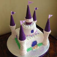 Seri's Castle A castle cake decorated with buttercream icing. Towers are ice cream cones covered in chocolate and sprinkles/sugar.
