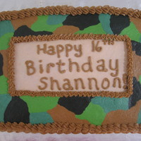 "Camoflauge Cake Camo cake requested for ""birthday cakes 4 free"" organization"