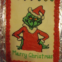 Grinch Cake All buttercream. Image done using toothpick transfer method.