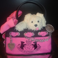 Juicy Couture Purse W/ Puppy This was a recreation inspired by a cake I saw online. I made this one for my oldest sister. TFL