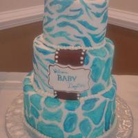 Blue & White Animal Print This Cake was Inspired by a baby shower napkin that the mom-to-be provided. TFL