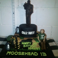 Call Of Duty Birthday Cake All decorations and figurine made from gumpaste except topper made from with modelling chocolate