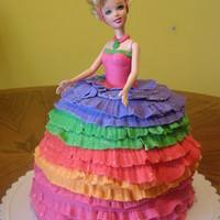 Rainbow Barbie Cinderella  My daughter asked for a rainbow cinderella cake for her 3rd birthday. So I did a cinderella barbie doll with a rainbow colored princess...