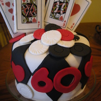 Casino Cake   mmf, chips were also MMF. cards were fondant with a edible imaged transfered onto it.