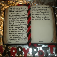 Harry Potter Book Harry Potter book, with fondant rope bookmark, and words from the actual script. MMF and white cake.