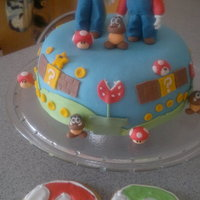 Super Mario & Luigi for my sons 8th birthdayparty. All Fondant. it?s a chocolate cake underneath