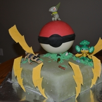 Pokemon Birthday Cake I made this Pokemon Cake for my son's 6th birthday. The Pokemon ball is made out of melted chocolate. Cake is covered with mm fondant...