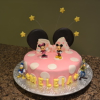Mickey And Minnie Mouse  This was a birthday cake for a 3 year old little girl. The cake is coved with mmf. The ears, stars and name are all modelling chocolate....
