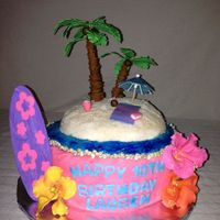 Hawaiian Luau  Made this Hawaiian luau cake for my daughters 10th birthday. I used cane sugar for the sand and coloured piping jell for the water. Thanks...