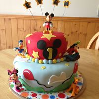 Mickey Mouse And Friends 1St Birthday Cake   Mickey, Donald, Minnie, Goofie and Pluto This was a chocolate cake with almond butter cream Thank you for looking