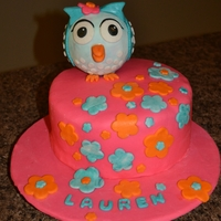 Owl Birthday Cake   I made a checkerboard cake and covered it with marshmallow fondant. I used a styrofoam ball to make the owl