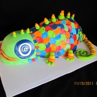 Colorful Gecko All edible, fondant covered
