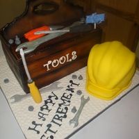 Tool Box Cake was fruit cake, all other tools gumpaste.Hardhat was vanilla cake