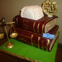 The Law Bottom cake was fruit cake, top cake and wig vanilla cake scale is pastillage suspended on dowel rod TFL
