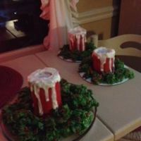 Candle Cake Candle cakes with battery lights. surrounded by cornflake wreaths candy.,