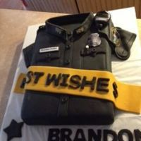 "Best Wishes One of our""Finest"" was moving on. This cake wad made to send him off. All is edible"