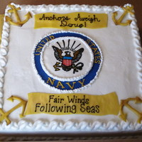 "Navy Cake This is a 16"" square chocolate cake with raspberry filling iced in buttercream with fondant accents. This was based on the design from..."