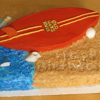 "Surfboard Cake White cake with cream cheese filling iced in buttercream. ""Sand"" was brown sugar and graham crackers and ""water"" was..."