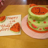 Watermelons 8 in. round with half a wilton ball pan on top, the other half was used to create the watermelon wedges. Round was white cake dyed red with...