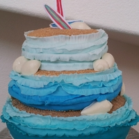 "Beachy Baby Shower This was a joint effort with a friend of mine for a beach-themed baby shower. The ""waves"" are fondant, with graham cracker and..."