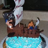 Pirate Ship My son wanted a pirate ship for his 3rd birthday cake. I had fun trying to figure this out. Iced in buttercream. My son wanted the pirates...