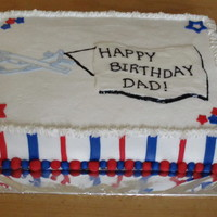 Patriotic Flight White cake with bavarian cream filling and buttercream icing. Fondant stripes, stars and balls.