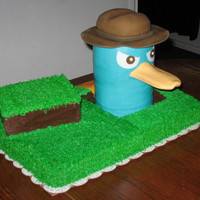 Perry The Platypus White sheet cake with chocolate Perry with gumpaste accents and fondant tail.