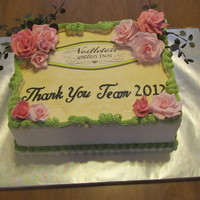 End Of Wedding Season Cake For Venu A cake to thank all vendor working with this venu. A lemon raspberry cake with lemon curd SMBC. Edible image, gumpaste roses, SMBC piping...
