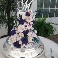 Ashley's Wedding Cake Gluten free and dairy free wedding cake. Gumpaste calla lilies, roses and hydrangeas.