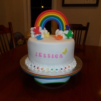 Rainbows And Butterflies My first cake order! Birthday cake for a 3 year old with a rainbow theme