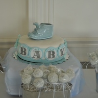 Baby Shower Baby shower cake, baby blocks, sugar cookies, chocolate covered pretzels, and rice crispy treats. The cake pops were red velvet and were...