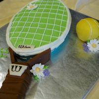 Tennis Anyone? Cake was WASC and handle was made from banana bread. All buttercream icing.