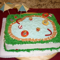 Swimming Pool Swimming pool cake w/gummy bear swimmers
