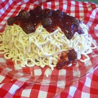 Spaghetti And Meatballs White cake w/cream cheese frosting piped on to resemble spaghetti. Meatballs are Ferrero Rocher candy covered with strawberry jam as the...