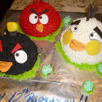 Angry Birds My grandson asked for Angry Birds cakes for his 12th birthday. They are red velvet, white sour cream almond, and chocolate along with the...