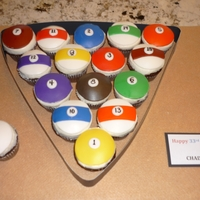 Pool Ball Cupcakes Cupcakes with BC frosting and fondant stripes and numbers