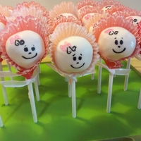 Baby Cake Pops Baby pops for a twin girls shower made with mini cupcake liners as bonnets