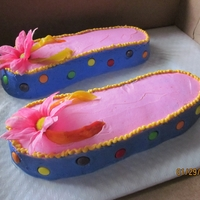 Flip Flop Cake Chocolate cake, buttercream frosting.