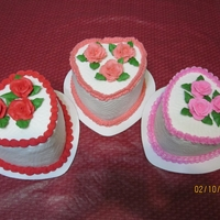 Three Little Heart Cakes I made these three little six inch heart cakes for the National Heart Association raffle. All strawberry, buttercream frosting and roses.