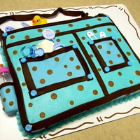 Diaper Bag Sheet cake, buttercream frosting with added fondant trim