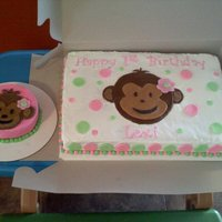Mod Mokey Pink & Lime Green 1st Birthday Mod Monkey Cake! 12x18 cake pan used!! buttercream icing w/ MMF decorations! Smash Cake was all...