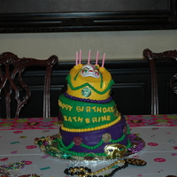 Mardi Gras Birthday Cake This was for my granddaughter who just turned five. They were in New Orleans for Mardi Gras so decided to use that for the theme. It is a...