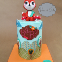 "Baby Fox Woodland Baby Shower Cake   6""x 8"" all buttercream and wafer paper. I also used my cricut machine (Finally, lol) thansk for looking."