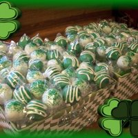 St. Patty's Day Cakepop Baskets I made these for work. They were gone in a few hours. Half were Double Fudge Chocolate, the other half were pistachio.