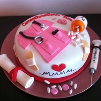 Nurse Graduation Cake   All details made out of fondant. Thank you for looking! :)