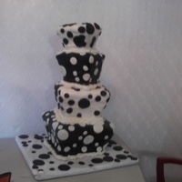 "Whimsical Topsy Turvy ""because I Said So' Cake This cake black and white polka dot whimsical cake was made for a friend's sweet 16th birthday. The cake is based on one of the..."
