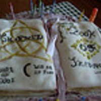 "Charmed Book Of Shadows Cake This birthday cake is based on the TV series ""Charmed"". The cake was baked in a book cake pan. The cake was iced in butter cream..."