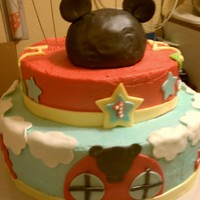 Mickey Mouse Club House buttercream and fondant ....thanks for the idea....