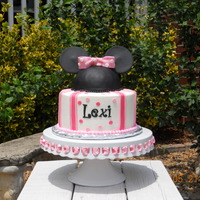 Minnie Mouse Butter cream with fondant stripes and dots. I thought this one came out super cute! I ended up making new ears. The lollipop sticks in the...