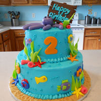 Ocean Cake Trade this cake to get my hair done. Love a good cake trade!! Butter cream with fondant decorations